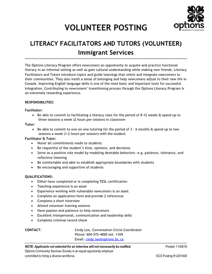 V201404 Literacy Facilitators and Tutors IS November 8 2016